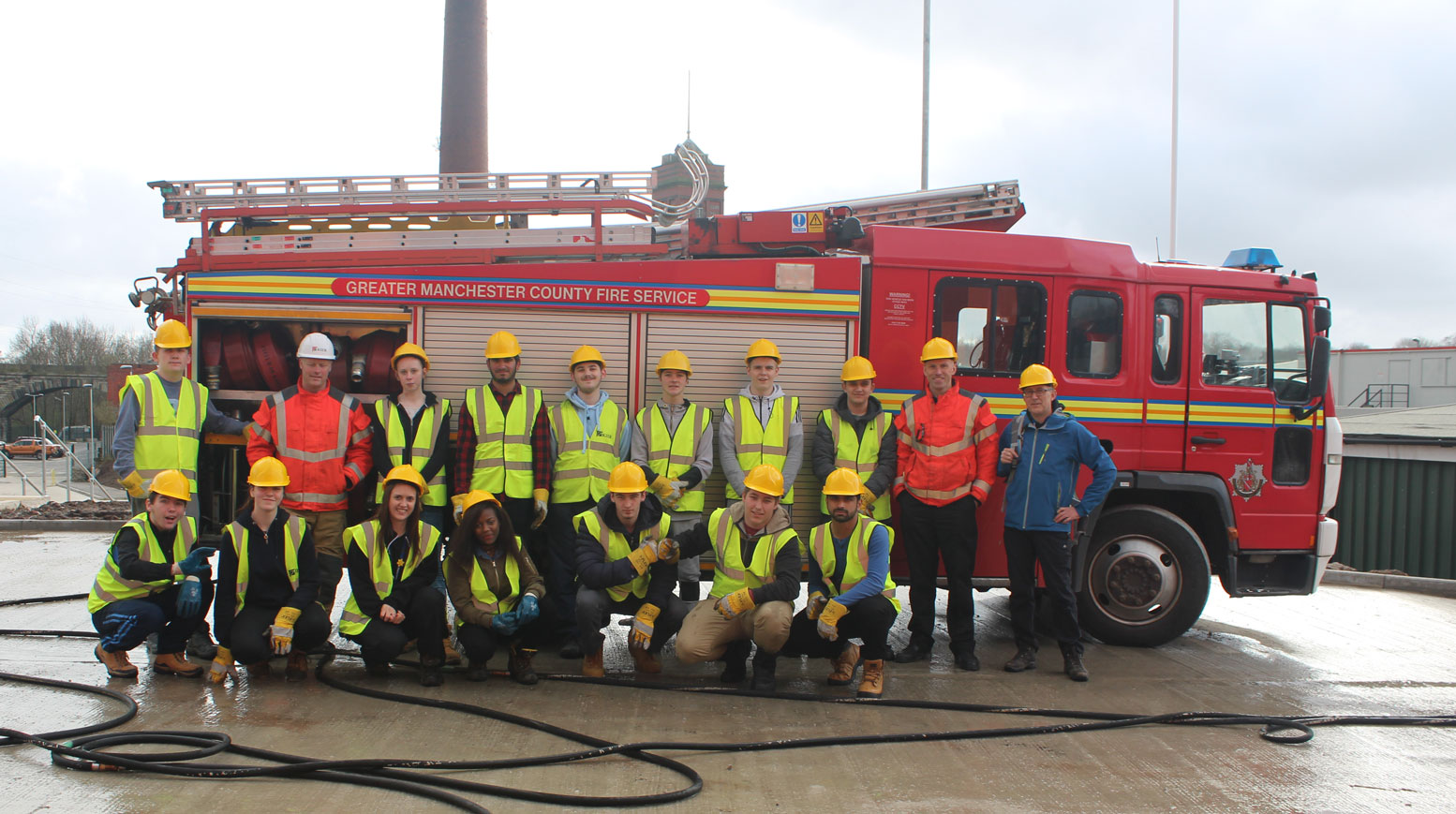 Fire Department with Bury College Students