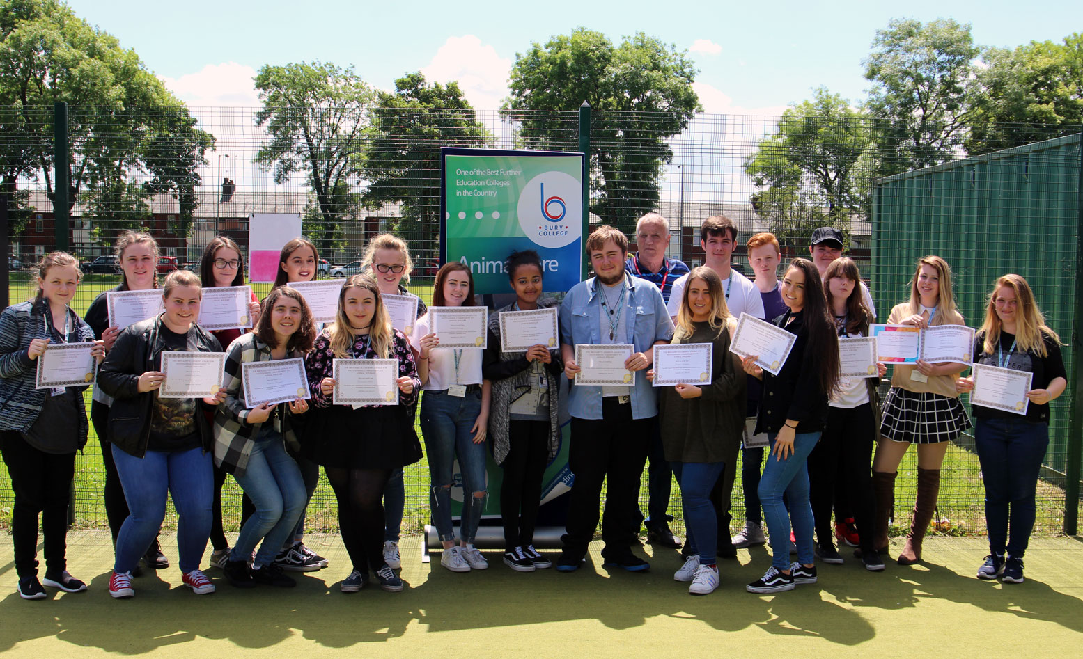 Bury College Animal Care students with Certificates